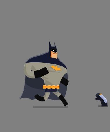 Анимация Бэтмен быстро шагает за пингвином
