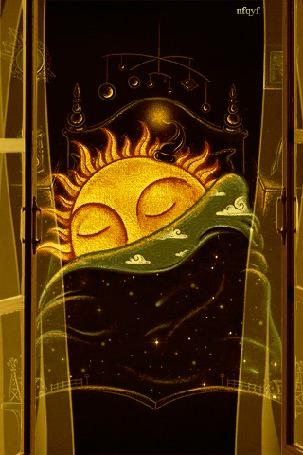 Анимация Солнышко с наступлением ночи улеглось спать (nfqyf)