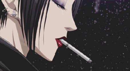 Анимация Nana Osaki / Нана Осаки, курит сигарету, эпизод из аниме Nana / Нана