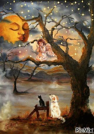 Анимация Сказочный пейзаж - на ветвях дерева сидит ангел, под деревом кот с собакой, а в небе спящее солнышко (PixMix)