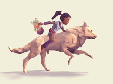 Анимация Девушка скачет на волке