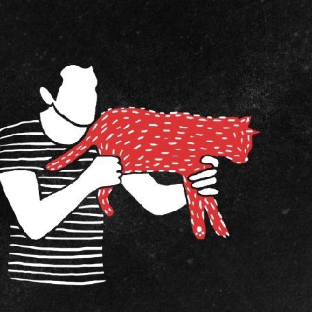 Анимация Парень держит на руках красного кота и как бы отстреливается из него