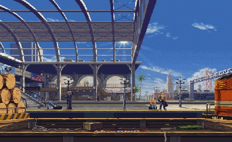 Анимация Поезд проходит мимо станции, на перроне стоят люди