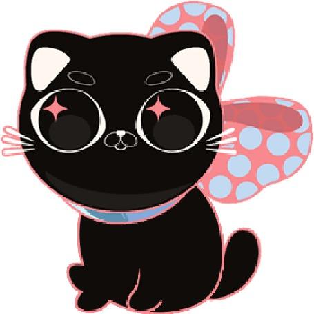 Анимация Черный рисованный котик