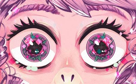 Анимация Глаза с цветами в них
