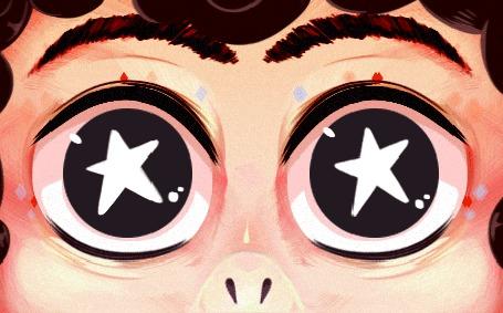 Анимация Глаза со звездами в них