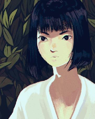 Анимация Моргающая темноволосая девушка