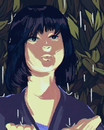 Анимация Темноволосая девушка стоит под дождем
