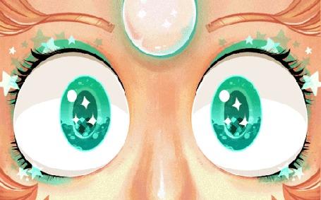 Анимация Моргающие зеленые глаза