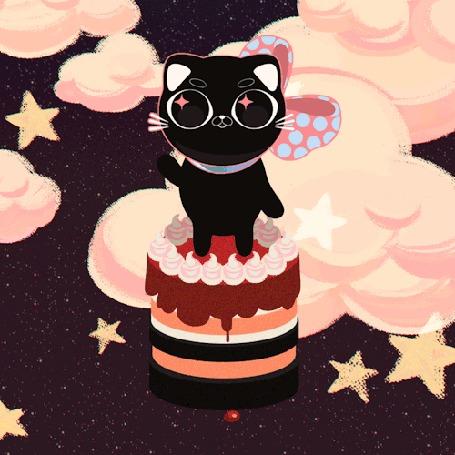Анимация Черный котенок стоит на тортике