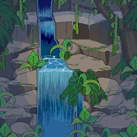 Анимация Голубая вода течет по ступенькам