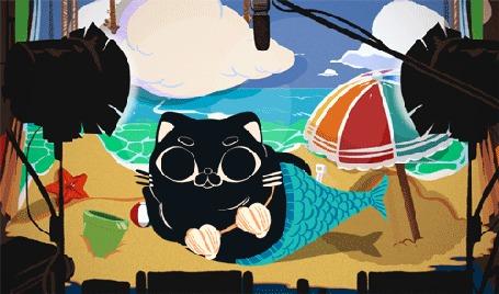 Анимация Котик лежит на пляже
