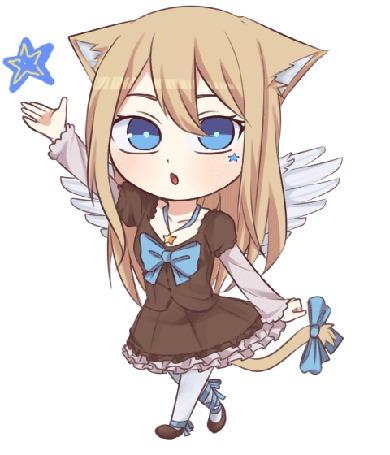 Анимация Светловолосая девушка с ушками и крыльями протягивает руку к звезде, by natto-ngooyen