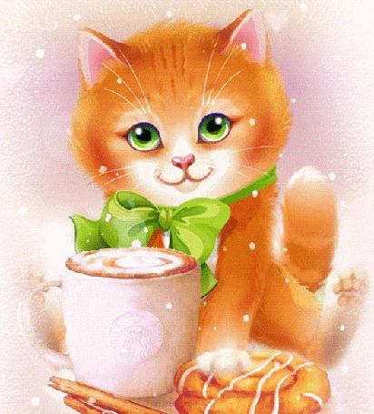Анимация Рыжий кот сидит перед чашкой