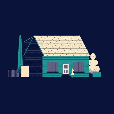 Анимация Девочка звонит в дверь дома и поднимается крыша