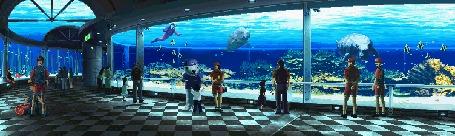 Анимация Люди наблюдают на животными и рыбами в океанариуме