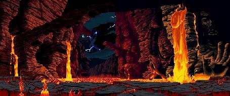 Анимация Огненная лава извергается на статуи древних божеств, вдали сверкают молнии
