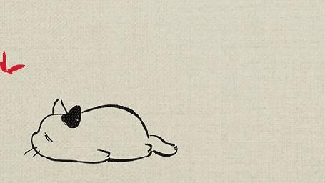Анимация Кот пытается поймать бабочку, но это выглядит как - то неубедительно