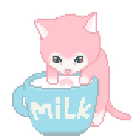 Анимация Котенок лакает молоко из кружки