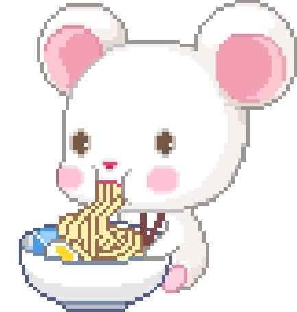 Анимация Мышонок кушает лапшу из миски