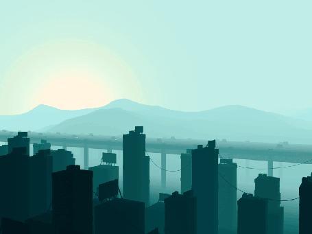 Анимация Маленькие самолеты пролетают над городом