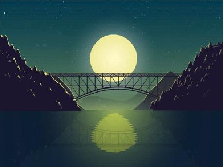 Анимация Ночь, по мосту проходит поезд