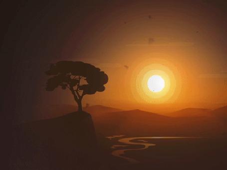Анимация Раннее утро над долиной