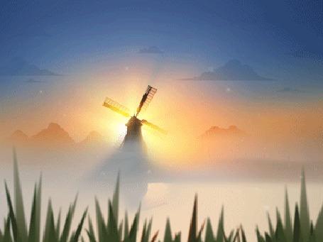 Анимация Раннее утро, мельница у туманной реки
