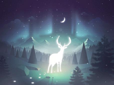 Анимация Светящийся олень на фоне леса и гор