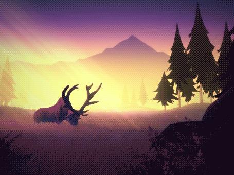 Анимация Олень на природе, by Mikael Gustafsson