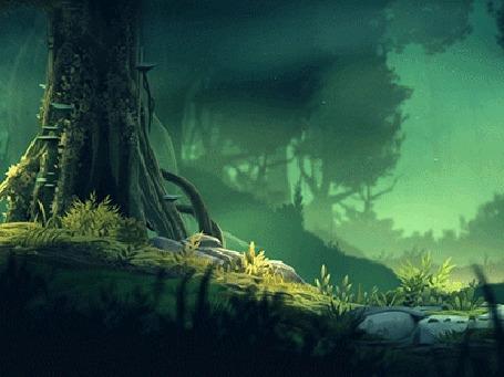Анимация Обзор леса в легкой дымке