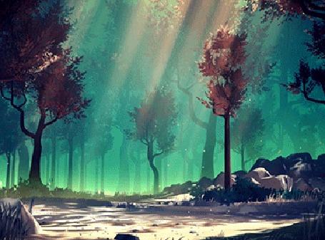 Анимация Солнечные лучи освещают лес, by Mikael Gustafsson