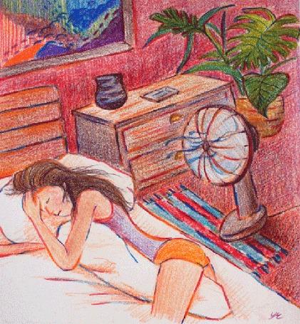 Анимация Спящая девушка, волосы которой обдувает вентилятор, by YRK