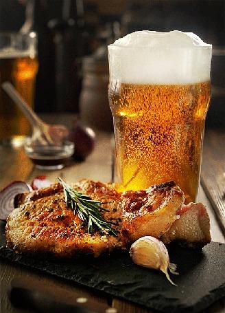 Анимация Стакан пива и еда
