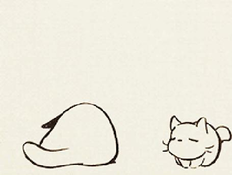 Анимация Кошка дремлет, к ней подбегает котенок и прижимается, чтобы согреться, над ними пролетают бабочки