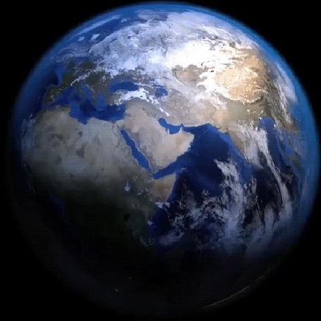 Анимация Вращение земли в космосе