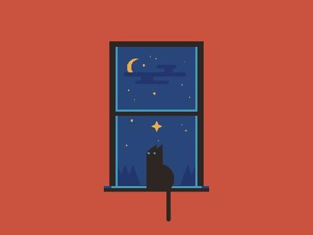 Анимация Кот сидит на подоконнике окна