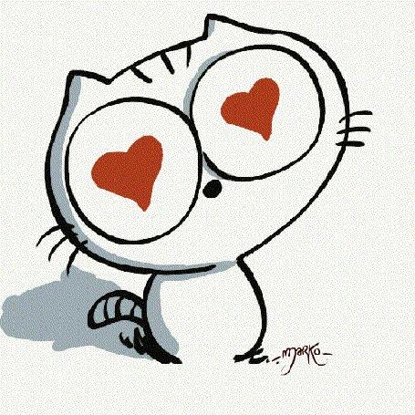 Анимация Кот с сердечками в глазах