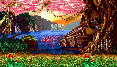 Анимация Красивый пейзаж со множеством экзотичных животных и птиц на фоне озера с впадающим в него водопадом, by RudeBootie