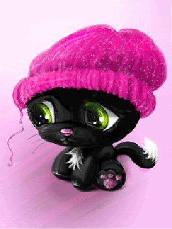 Анимация Котенок в розовой шапочке