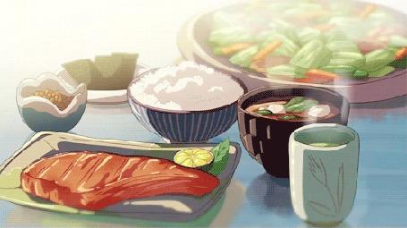 Анимация Горячая еда на столе