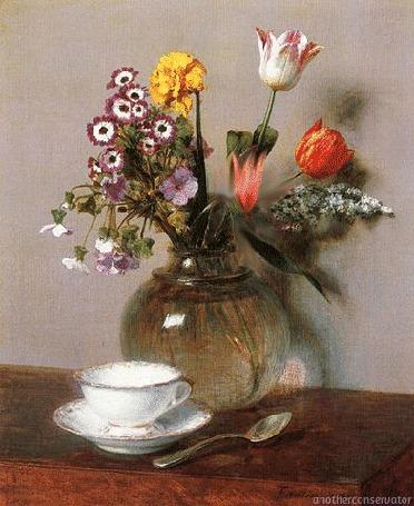 Анимация Распускающийся цветок в вазе