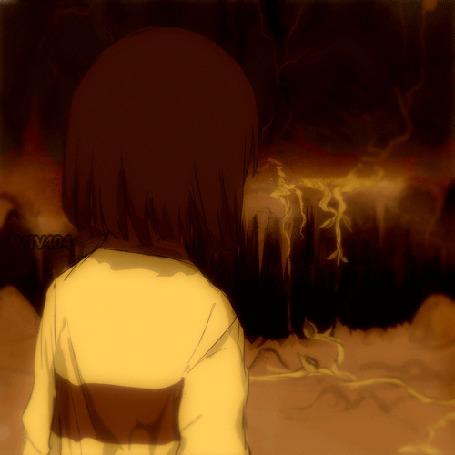 Анимация Девочка стоит на ветру к нам спиной, by V1V404