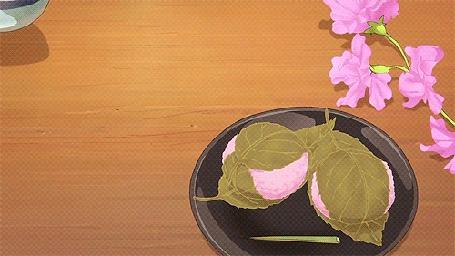 Анимация Руки ставят чашку с цветочным чаем