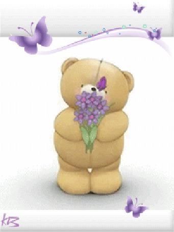 Анимация Игрушечный мишка с бабочкой