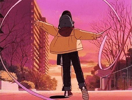 Анимация Мальчик с гимнастической лентой склоняется перед девушкой