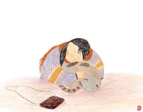 Анимация Девушка обнимает и гладит кошку, by choisssong