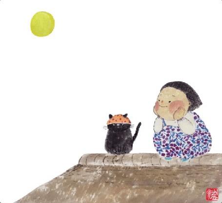 Анимация Пухлый малыш смотрит, улыбаясь, на недовольную кошку в шапочке, by choisssong