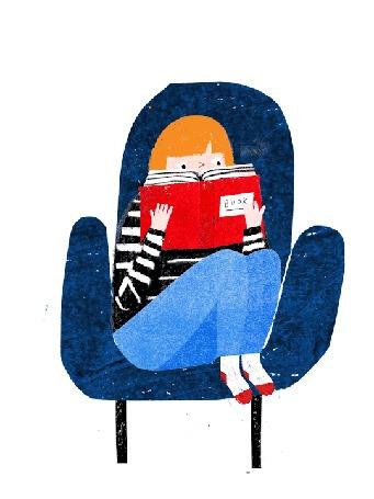 Анимация Девушка сидит в кресле и читает книгу
