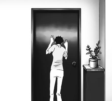 Анимация Девушка опускается на пол у двери. Аниме:Встреча под летним снегом